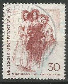 BERLIN, 1969, used 20pf Three Ladies, Scott 9N273
