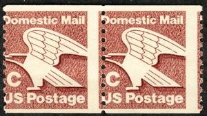US #1947 MISPERFED, 20c C stamp,  PAIR, mint never hinged,  VERY FRESH!