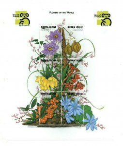 Sierra Leone MNH S/S Flowers Of The World 1999 6 Stamps