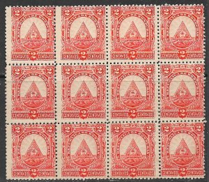 HONDURAS 1890 2c ARMS Issue BLOCK OF 12 Sc 41 MNG