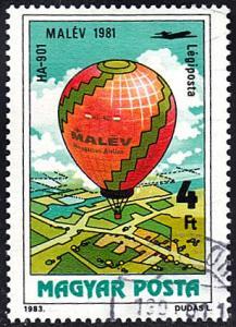 Hungary # C442 used ~ 4fo Hot Air Balloon - Malêv 1981