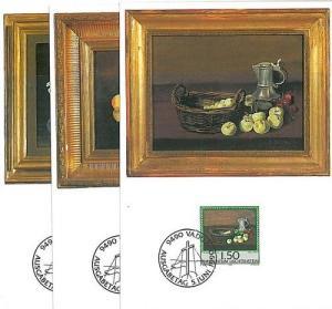 ART - PAINTING: SET 3 MAXIMUM CARD - LIECHTENSTEIN 1990