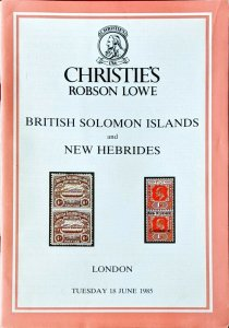 Auction Catalogue BRITISH SOLOMON ISLANDS & SC Jersey NEW HEBRIDES Robson Lowe