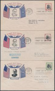 #832-834 #5 SET OF 3 FDC PRESIDENTIAL SERIES FIDELITY CACHETS BS8599