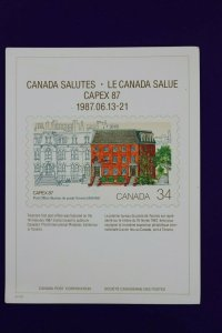CAPEX 1987 Canada salutes post office Bureau 1122 Philatelic Souvenir card page