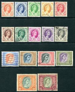 RHODESIA & NYASALAND-1954-56 Set to £1 Sg 1-15 GOOD USED V25772