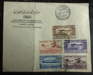 1933 Cairo Egypt Aeronautic Congress Cover Sc# 172-176 Airmail Stamp Set High Va