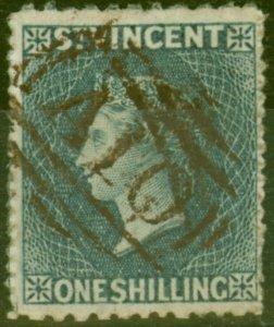 St Vincent 1866 1s Slate-Grey SG11 P.11 x 13 Fine Used (2)