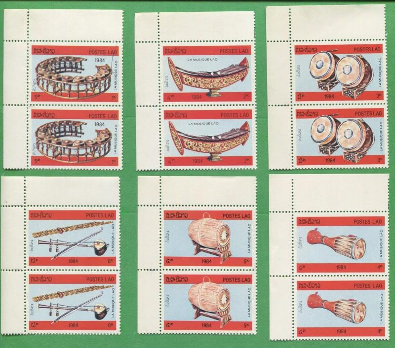 10 Sets of1984 Laos Stamps 529 - 534 Cat Val $44 Traditional Musical Instruments