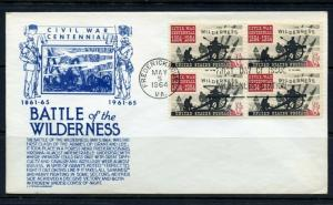 UNITED STATES 1964 BATTLE OF THE WILDERNESS BLOCK ON FIRST DAY COVER