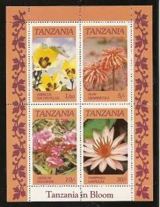 Tanzania MNH S/S 318a Flowers In Bloom 1986