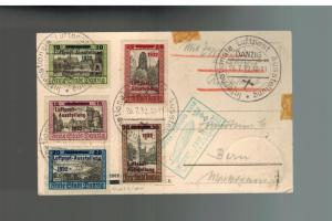 1932 Danzig Graf Zeppelin Registered Postcard Cover Bern Complete set # C31-C35