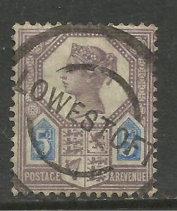 GB 1888 QV 5d Purple/Blue DIE 2 SG 207a Pmk Lowerstoft ( E531 )