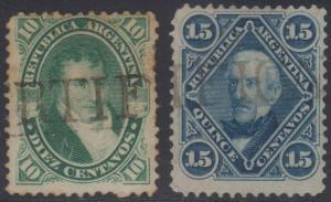 ARGENTINA 1867-68 BELGRANO Sc 18A & 21 USED BY CERTIFICADO S/L CANCELS CV$22+