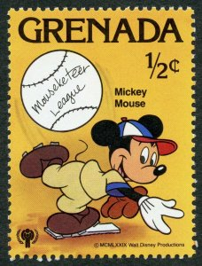 Disney: Mickey Mouse playing baseball, 1979 Grenada, Scott #950