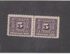 CANADA (MK368) # J4  FVF-MH  5cts  FIRST POSTAGE DUE ISSUE PAIR/VIOLET CAT $60