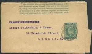 TRINIDAD 1906 EVII ½d newspaper wrapper used Port of Spain to London.......39303