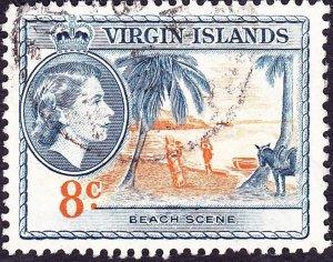 BRITISH VIRGIN ISLANDS 1956 QEII 8c Yellow-Orange & Deep Blue SG155 FU