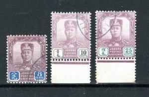 Malaysia - Johore 1904-10 8c, 10c and 25c Sultan Sir Ibrahim FU CDS