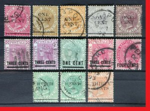 MALAYA 1885-99 STRAITS SETTLEMENTS QV overprints 13V USED M2546