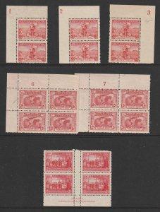 Australia x 5 early plate blocks & 1 imprint block