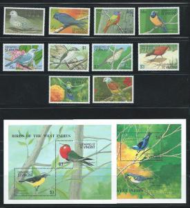 St. Vincent Grenadines 725-36 1990 Birds set and s.s. MNH
