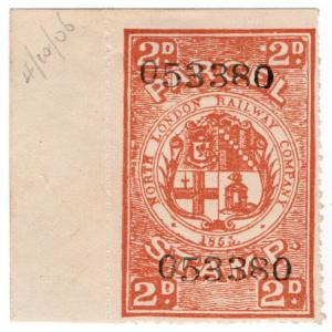 (I.B) North London Railway : Parcel Stamp 2d (printer's specimen)