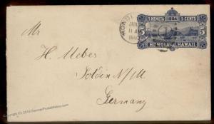 Hawaii 1893 USA Honolulu Transatlantic Stationery Solden Germany Cover 88514