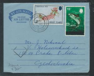 GILBERT  ISLANDS (P0912B)1978 QEII 25C+ 15C ON FORMULA AEROGRAMME TO CZECHOSLOVA
