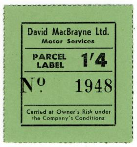 (I.B) Cinderella : Private Carrier - David MacBrayne Parcel Label 1/4d