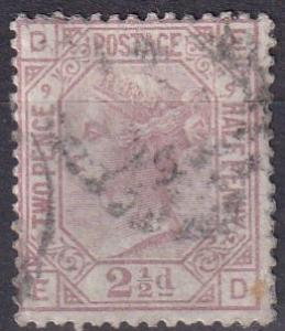 Great Britain #67 Plate 9 F-VF Used  CV $60.00 (A19486)