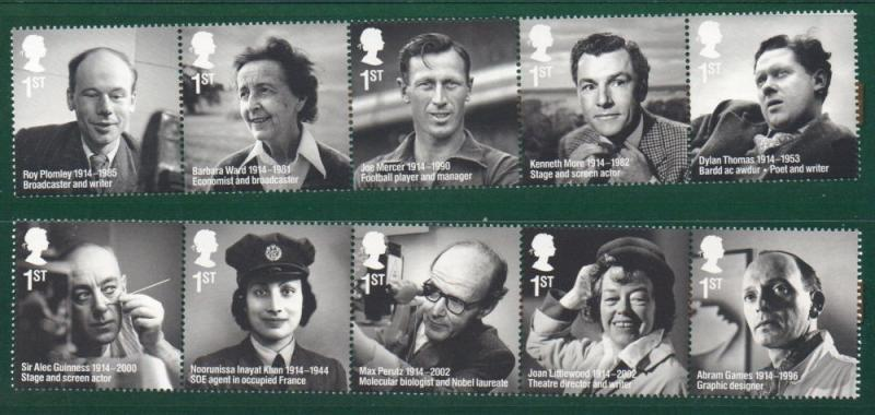 Great Britain Sc 3269-78 2014 Famous People stamp set mint NH