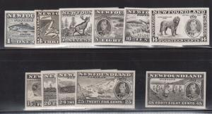 Newfoundland #233P - #243P XF Proof Set In Black On Thick Wove Paper
