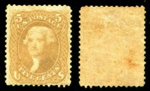 HERRICKSTAMP UNITED STATES Sc.# 67 1861 5¢ Buff, Small Stains, OG, LH