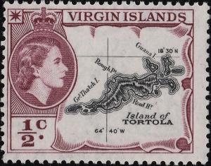 BRITISH VIRGIN ISLANDS - 1960 - SG149a 1/2c black & deep reddish purple - Mint**