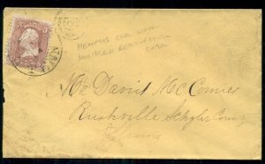 1860's, 3¢ on (per notation) Memphis Northern Reoccupation cover