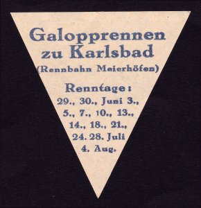 REKLAMEMARKE POSTER STAMP GALOPPRENNEN ZU KARLSBAD - GERMAN GALLOP RACE