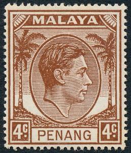 Malaya Penang 1949 4c Brown SG6 MH