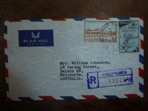 Tonga Reg A/M cover to Australia, Nuku'Alofa, map stamp (39bea)