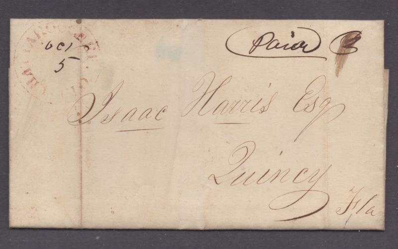 **US 19th Cent Stampless Cover, 1851,10/5 Red CDS Chattachoochee, FL to Quincy