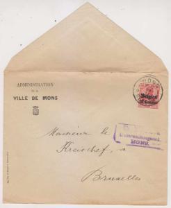 BELGIUM GERMAN OCC 1915 UNSEALED MAIL TO BRUSSELS SC N3 HANDSTAMP VF