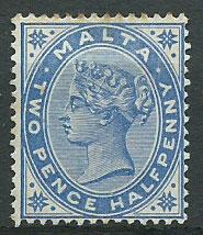 Malta SG 24 2 1/2d Dull Blue - light staining
