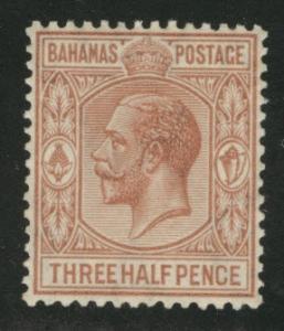 BAHAMAS Scott 73 1.5p KGV stamp 1934 MH* yellowed gum