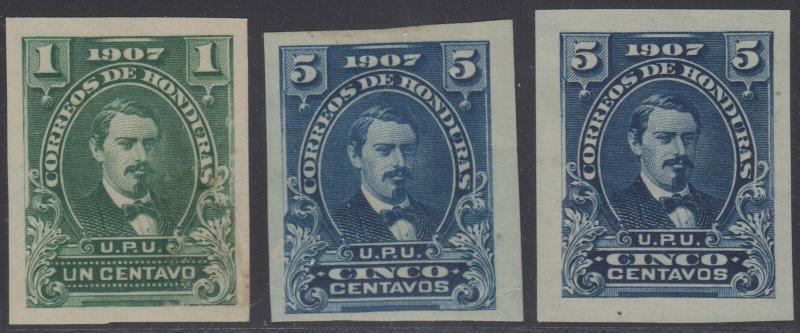 HONDURAS 1907 MEDINA Sc 119 & 121 (2x) IMPERF SINGLES SHADES MINT/UNUSED