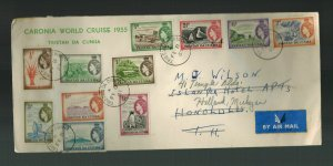 1955 Tristan da Cunha Cover to USA # 14-27 Coronia World Cruise Forwarded