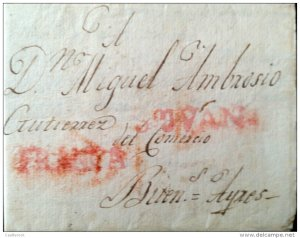 O) 1815 CHILE, STAMPLESS MARK,SAN JUAN- AND FRANCA IN RED TO BUENOS AIRES ARGENT