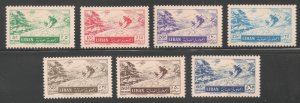 Lebanon #C200-C206 (AP48) VF MINT VLH - 1955 5p to 65p Skiing Among the Cedars