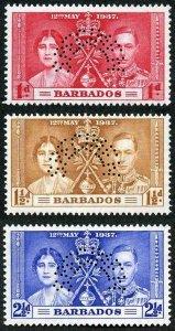 Barbados SG245s/7s 1937 Coronation set Perf Specimen U/M