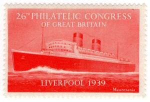 (I.B) Cinderella : 26th Philatelic Congress (Liverpool 1939) Mauretania