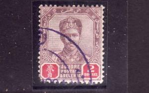 D3-Malaya Johore-Scott#48-used $2 lilac & car rose-1896-99-